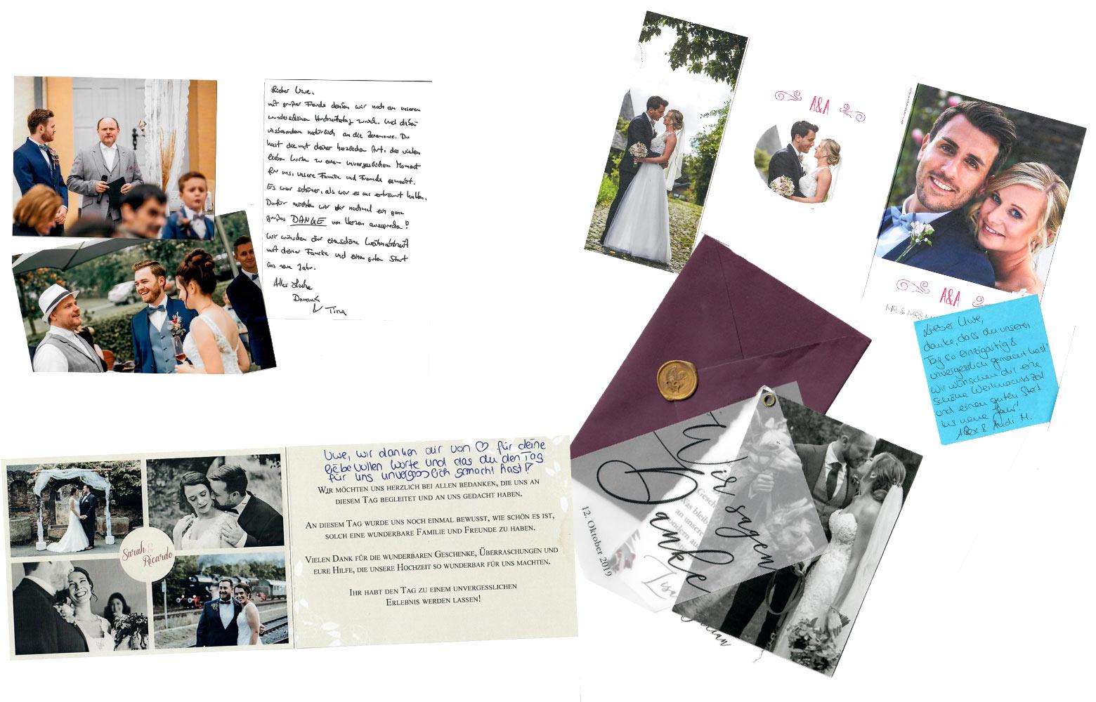 Dankschreiben zufriedener Brautpaare